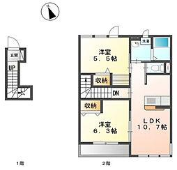(仮)原宿4丁目アパート新築[2階]の間取り