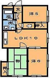 ピュア西都賀[206号室]の間取り