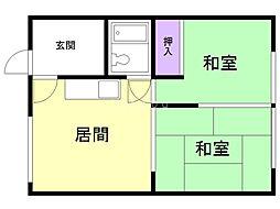 幸和荘 2階2DKの間取り