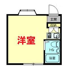 サンサーラ弘明寺I 1階ワンルームの間取り