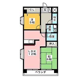 シャトーみなみ[5階]の間取り