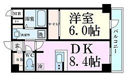 エスリード京都吉祥院 5階1DKの間取り