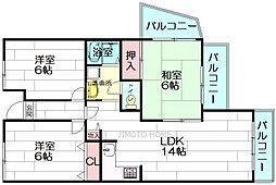 大阪府吹田市高野台1丁目の賃貸マンションの間取り