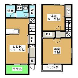 [テラスハウス] 愛知県名古屋市天白区池場3丁目 の賃貸【/】の間取り