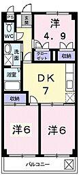 東京都東村山市廻田町3丁目の賃貸マンションの間取り