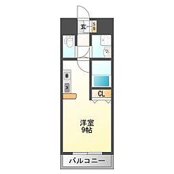 エクセレント上新20 8階ワンルームの間取り