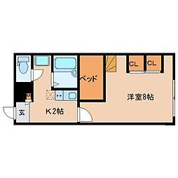 近鉄京都線 大和西大寺駅 バス16分 南押熊下車 徒歩2分の賃貸アパート 1階1Kの間取り
