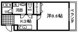 大阪府貝塚市半田2丁目の賃貸アパートの間取り
