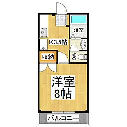 長野県松本市大字岡田松岡の賃貸アパートの間取り