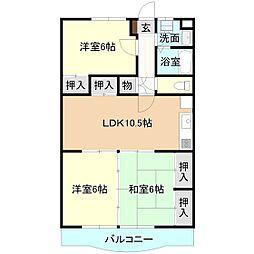 茨城県つくば市稲荷前の賃貸マンションの間取り