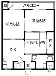 第一南部ビル[302号室]の間取り