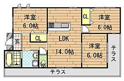 [一戸建] 大阪府東大阪市瓢箪山町 の賃貸【/】の間取り