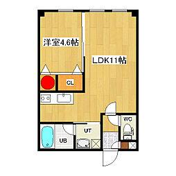 ヴァンドーム青葉 3階1LDKの間取り