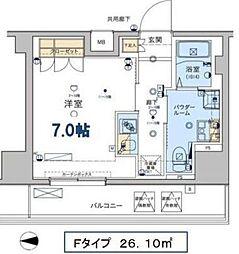 ジェノヴィア東日本橋駅前グリーンヴェール 10階1Kの間取り