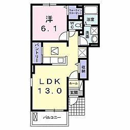 JR高徳線 板野駅 徒歩22分の賃貸アパート 1階1LDKの間取り