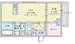 ル・リアン壱番館 1階1LDKの間取り