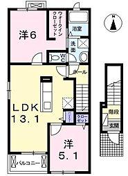 愛知県北名古屋市宇福寺天神の賃貸アパートの間取り