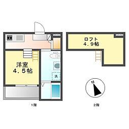 トムズテネメントスリー(Tom's tenement 3)[2階]の間取り
