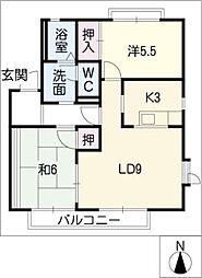 クレール三好ヶ丘B[1階]の間取り