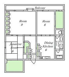 大阪府大阪市東住吉区湯里1丁目の賃貸マンションの間取り
