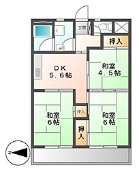当知東住宅2号棟[4階]の間取り