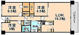 兵庫県伊丹市高台3丁目の賃貸マンションの間取り