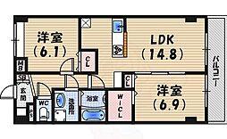 阪神本線 打出駅 徒歩11分の賃貸マンション 7階2LDKの間取り
