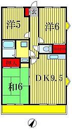 モンシャトー松戸[4階]の間取り