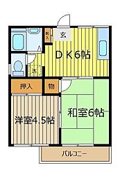 細田コーポ[1階]の間取り
