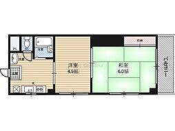 エクセレント2都島山崎マンション 2階2DKの間取り