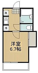 神奈川県秦野市鶴巻南3丁目の賃貸アパートの間取り