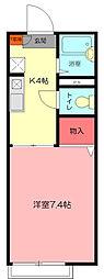 埼玉県熊谷市中西1丁目の賃貸アパートの間取り