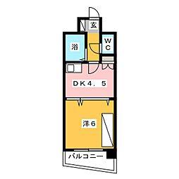 ライオンズマンション博多中央[5階]の間取り