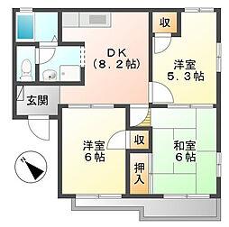 神奈川県横浜市都筑区見花山の賃貸アパートの間取り
