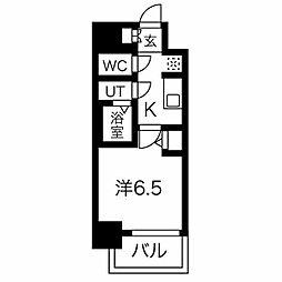 名古屋市営東山線 今池駅 徒歩6分の賃貸マンション 3階1Kの間取り