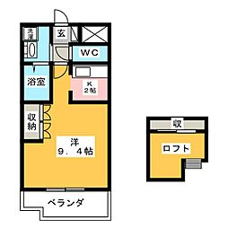 Chez-moi千日[2階]の間取り