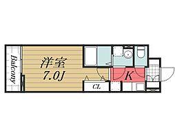 JR成田線 成田駅 徒歩21分の賃貸アパート 1階1Kの間取り