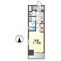 ブランシエスタ東別院 6階1Kの間取り