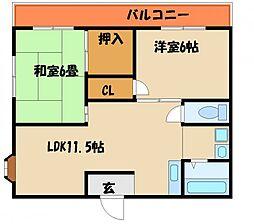 兵庫県明石市魚住町中尾の賃貸マンションの間取り