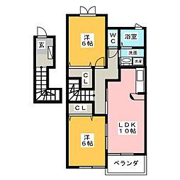 三重県名張市鴻之台2番町の賃貸アパートの間取り