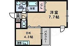 アズールパーク 1階1DKの間取り