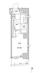 都営大江戸線 門前仲町駅 徒歩4分の賃貸マンション 5階1Kの間取り