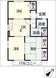 セジュール杉木[2階]の間取り
