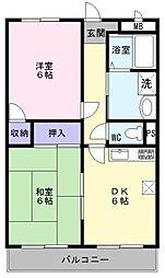 大阪府堺市堺区旭ヶ丘南町3丁の賃貸マンションの間取り
