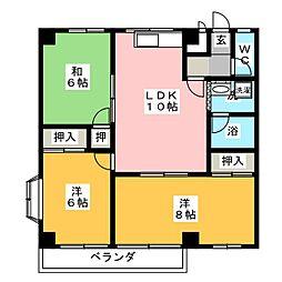 ハイツドレミ[1階]の間取り