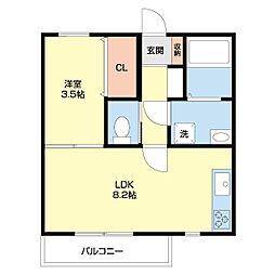 JR東北本線 南仙台駅 徒歩2分の賃貸アパート 1階1LDKの間取り