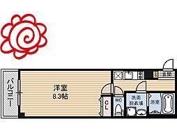 JR片町線(学研都市線) 徳庵駅 徒歩1分の賃貸マンション 2階1Kの間取り