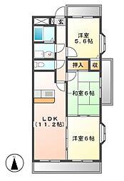 愛知県名古屋市港区小碓2丁目の賃貸マンションの間取り