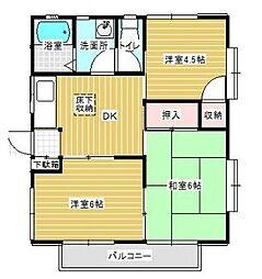 神奈川県秦野市渋沢の賃貸アパートの間取り