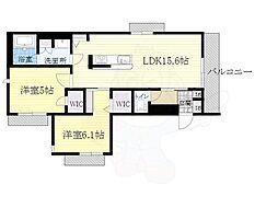 北大阪急行電鉄 千里中央駅 バス7分 白島[急行]下車 徒歩5分の賃貸マンション 2階2LDKの間取り